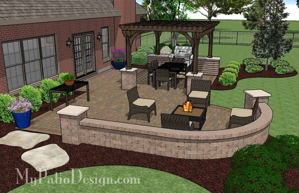 Traditional Patio Design with Seating Wall and Pergola ... on Patio Designs For Straight Houses id=59476
