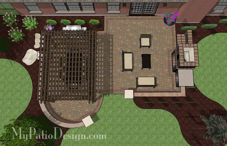 Traditional Patio Design with Seating Wall, Pergola and Fireplace 2