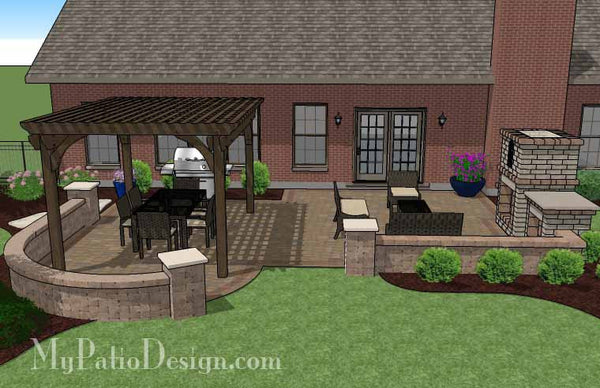 Traditional Patio Design With Pergola And Fireplace