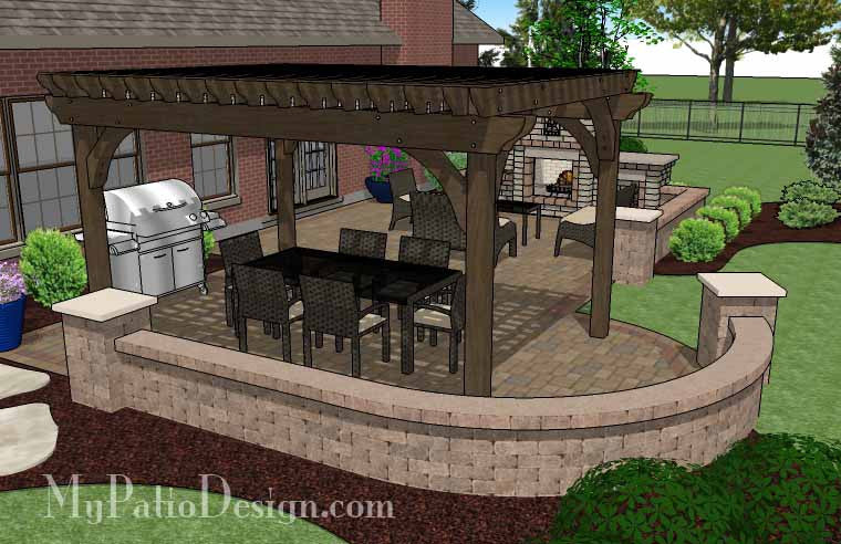 Traditional Patio Design with Pergola and Fireplace – MyPatioDesign.com