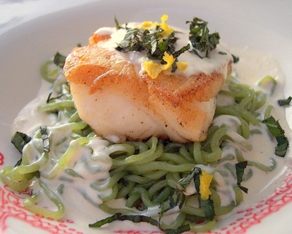 Chilean Sea Bass With Lemon Basil Cream Sauce Over Spinach Miracle Noo Miracle Noodle