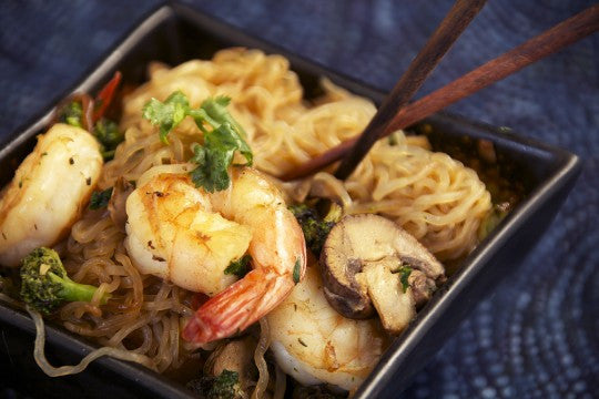 Low Carb Shrimp And Angel Hair Pasta Asian Style
