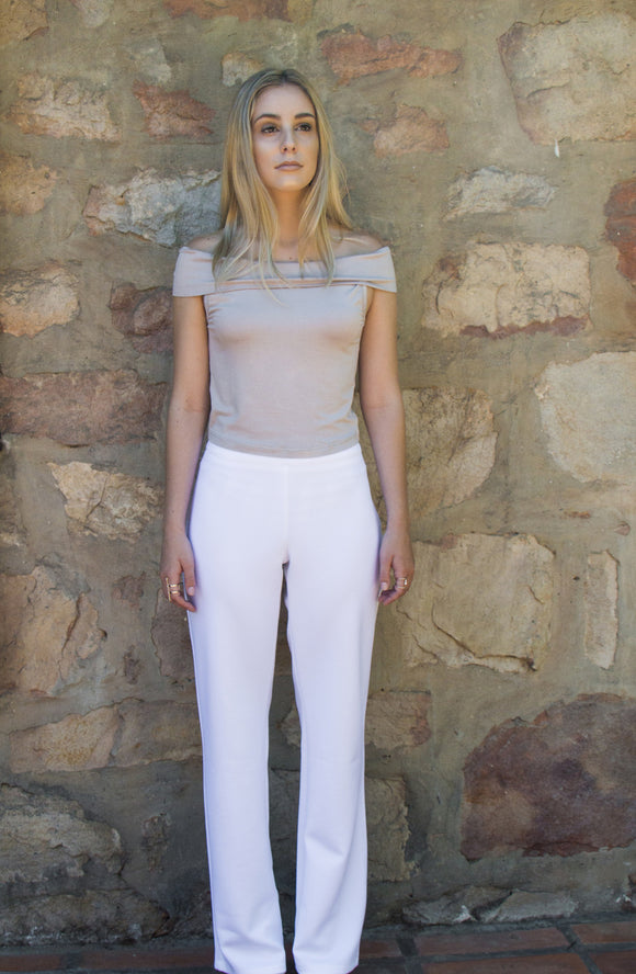 Mia High Waisted Pants, Crisp White