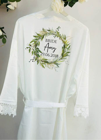 satin lace robe, bridesmaid robe. will you be my bridesmaid, bridesmaid gift, floral wreath bridesmaid robe