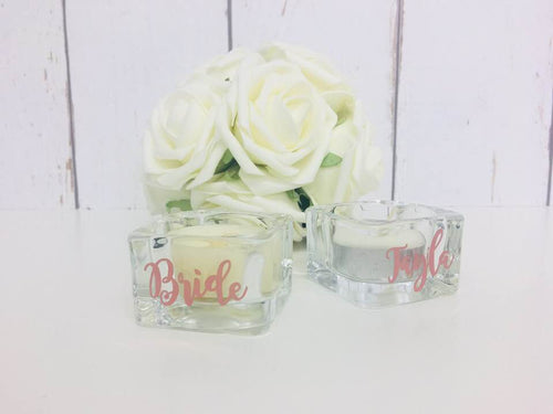 Bridesmaid Tea Light Candle Jar • Personalised Wedding Favours • Bridesmaid Gift