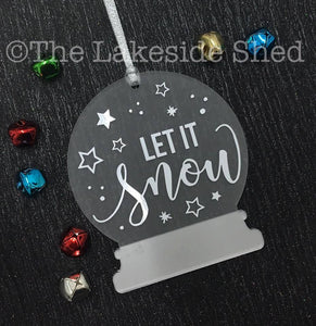 Let it Snow • Snow Globe Ornament • Snow Globe Decoration • Christmas Tree Decoration • Personalised Tree Decoration • Christmas Ornament
