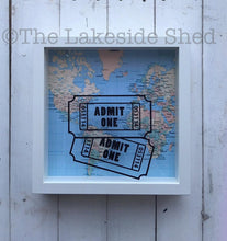Load image into Gallery viewer, Admit One Ticket Stub Shadow Box • Travel Memory Box