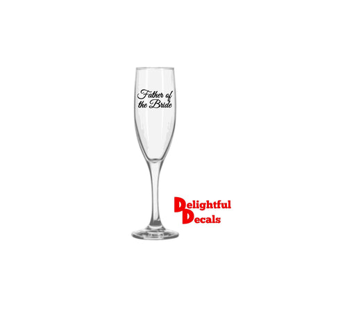 Wedding Glass Sticker | Glass Decal | Bridal Party Stickers | Vinyl Sticker | Champagne Glass Stickers | DIY Stickers | Name OR Role Decals