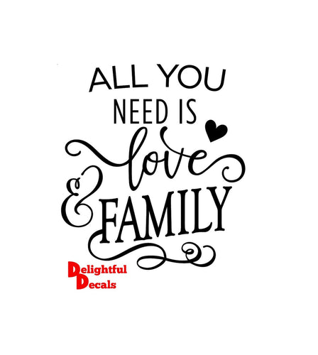All You Need Is Love And Family Vinyl Sticker Decal DIY Ikea Ribba Frame