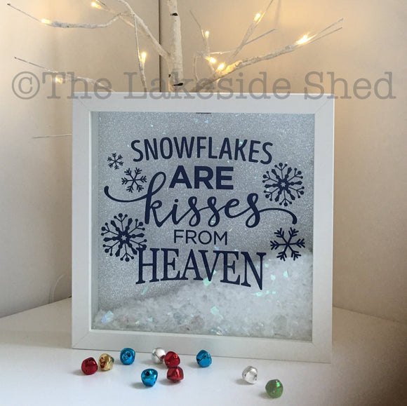 Snowflakes are kisses from heaven Memorial Frame Feathers Wings Rembrance Memory Box