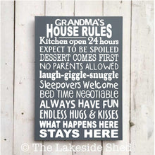 Load image into Gallery viewer, Grandma's House Rules • Grandma Sign • Grandma Plaque • Grandma Gift • Nannie gift • Grandparents House Rules • Grandmother Gift • Granny