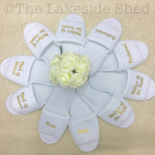 Load image into Gallery viewer, Bridal Party Slippers • Hen Party Slippers • Wedding Slippers • Personalised Spa Slippers