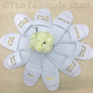 Bridal Party Slippers • Hen Party Slippers • Wedding Slippers • Personalised Spa Slippers