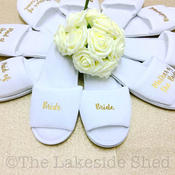 Bridal slippers - Bridal Party Slippers - Hen Party Slippers - Wedding Slippers - Personalized Spa Slippers