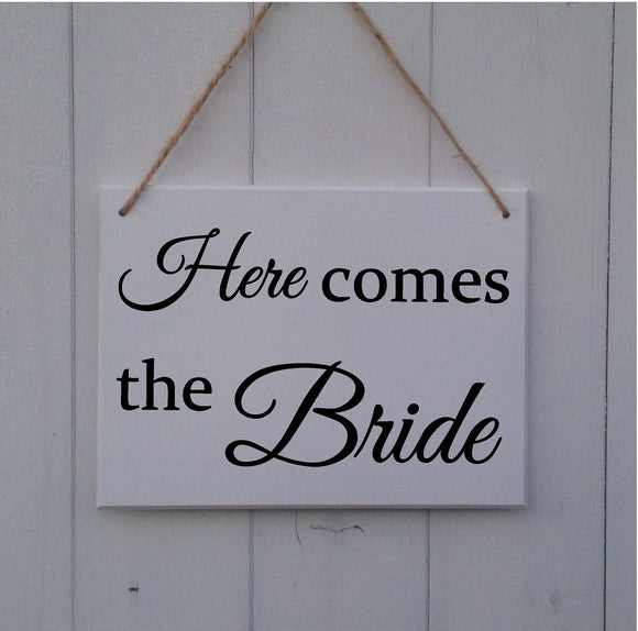 Here Comes The Bride Sign - Here Comes The Bride Plaque - Wedding Sign