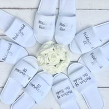 Load image into Gallery viewer, Bridal slippers • Bridal Party Slippers • Hen Party Slippers • Personalised Spa Slippers • Wedding Slippers
