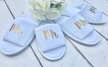 Load image into Gallery viewer, Mr and Mrs • Bridal slippers • Honeymoon • Bridal Party • Newlyweds • Wedding Slippers • Personalised Spa Slippers • Spa Slippers • Gift • Personalised Bridal Party Slippers