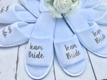 Load image into Gallery viewer, Team Bride • Bridal slippers • Hen Party Slippers • Bridal Party • Wedding Slippers • Personalised Spa Slippers • Spa Slippers • Gift Personalised Bridal Party Slippers
