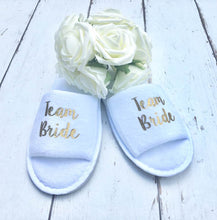 Load image into Gallery viewer, Team Bride • Bridal slippers • Hen Party Slippers • Bridal Party • Wedding Slippers • Personalised Spa Slippers • Spa Slippers • GiftPersonalised Bridal Party Slippers