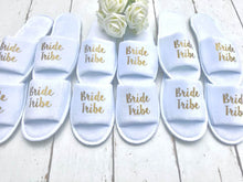 Load image into Gallery viewer, Bride Tribe Slippers • Bridesmaid slippers • Hen Party Slippers• Personalised Spa Slippers •Hen Do Slippers • Wedding Slippers •Spa Slippers