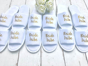 Bride Tribe Slippers • Bridesmaid slippers • Hen Party Slippers• Personalised Spa Slippers •Hen Do Slippers • Wedding Slippers •Spa Slippers