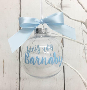 My first Christmas Bauble Blue • Baby Boy's Personalised Tree Ornament