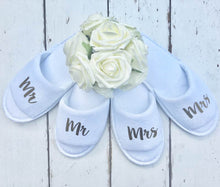 Load image into Gallery viewer, Mr and Mrs Slippers • Bridal slippers • Honeymoon • Personalised Spa Slippers • Wedding Slippers • Couple Slippers • Honeymoon Gift • Mr and Mrs