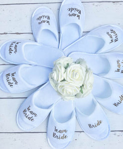 Team Bride • Bridal slippers • Hen Party Slippers • Bridal Party • Wedding Slippers • Personalised Spa Slippers • Spa Slippers • Gift Personalised Bridal Party Slippers