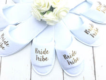 Load image into Gallery viewer, Bride Tribe • Bridal slippers • Hen Party Slippers • Bridal Party • Wedding Slippers • Personalised Spa Slippers • Spa Slippers • Gift Personalised Bridal Party Slippers