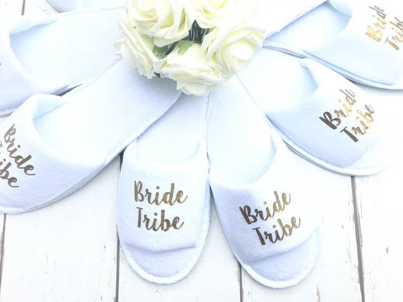 Bride Tribe - Bridal slippers - Hen Party Slippers - Bridal Party - Wedding Slippers