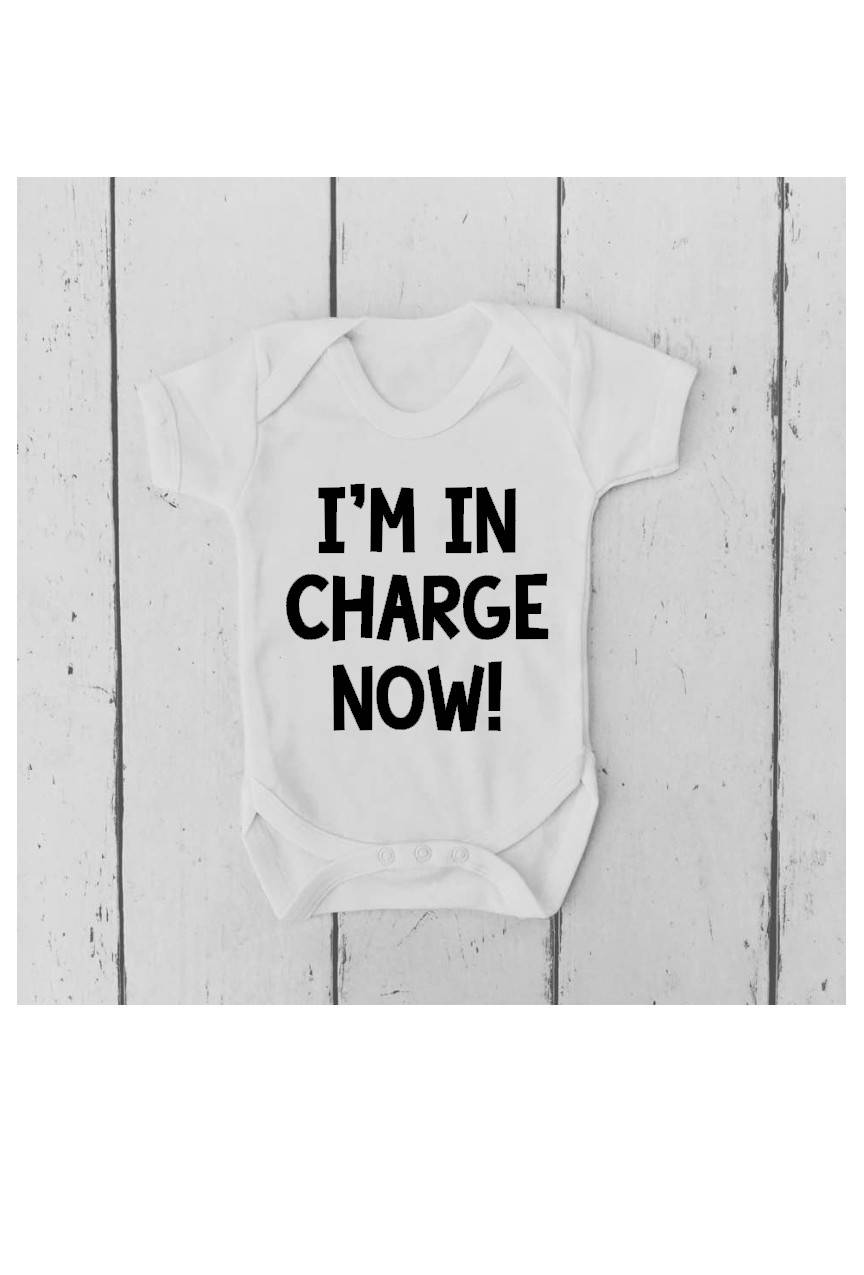 I'm in Charge Now Baby Vest | Bodysuit | Body Suit | Baby Grow | Baby Clothing | Unisex Vest | | Baby  Shower Gift | Funny Baby Vest |