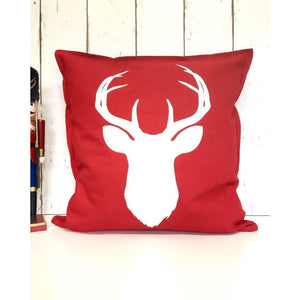 Stag Cushion • Christmas Cushion • Stag Decor • Red Christmas Cushion • Personalised Christmas Cushion • Festive Cushion • Stag • Stag Head