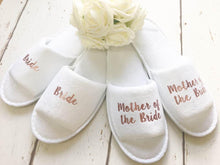 Load image into Gallery viewer, Rose Gold Bridal slippers • Bridal Party Slippers • Hen Party Slippers • Wedding Slippers • Personalised Spa Slippers • Spa Slippers