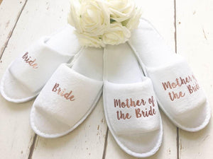 Rose Gold Bridal slippers • Bridal Party Slippers • Hen Party Slippers • Wedding Slippers • Personalised Spa Slippers • Spa Slippers