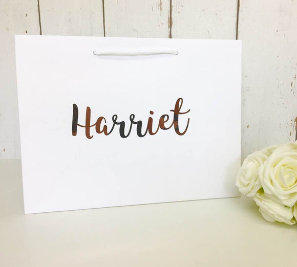 NQP CLEARANCE FLAWED Personalised Gift Bag • Rose Gold Gift Bag •Bridesmaid Gift •Personalised Gift Personalised Bag Bridesmaid Bag Gift Bag