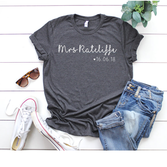 Personalized Mrs Shirt - Personalized Bride Shirt - Future Mrs Shirt - Mrs Bride Shirt - Newlywed Shirt - Wife Shirt