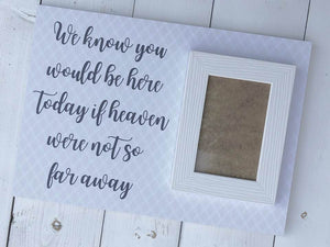 We Know You Would Be Here Today • Heaven So Far Away Sign • Heaven Wedding Sign • Wedding Remembrance • Wedding Memorial • Memory Sign