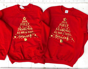 Our First Christmas As Mr and Mrs • Personalised Christmas Jumper • Matching Christmas Jumper •Couples Jumper •Christmas Sweater• Sweatshirt