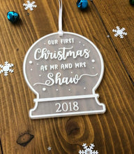 Load image into Gallery viewer, Our First Christmas as Mr and Mrs • Personalised Snow Globe Tree Decoration