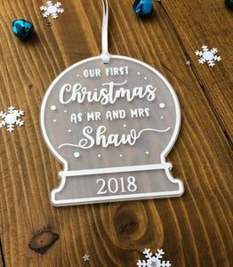 Our First Christmas as Mr and Mrs • Personalised Snow Globe Tree Decoration