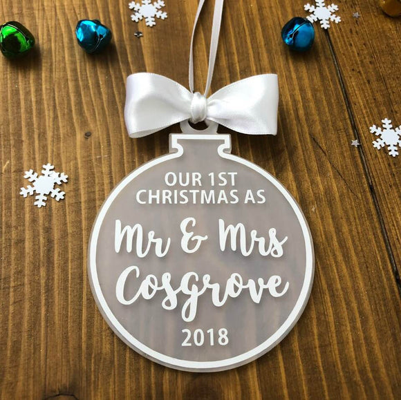 Personalised Our First Christmas As Mr & Mrs Christmas Ornament Decoration