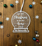 Our First Christmas In Our New Home - Personalized Snow Globe Tree Decoration Ornament