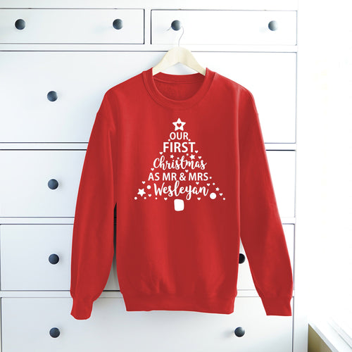 Our First Christmas As Mr and Mrs Sweatshirts • Newlyweds Personalised Matching Christmas Jumpers