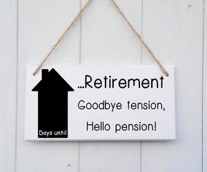 Retirement Countdown • Countdown To Retirement • Retirement Gift • Chalkboard • Goodbye tension hello pension • Colleague Gift •Secret Santa