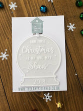 Load image into Gallery viewer, Our First Christmas as an Engaged Couple • Personalised Snow Globe Tree Ornament