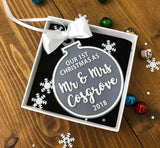 Our First Christmas As Mr & Mrs Personalised Christmas Ornament Decoration