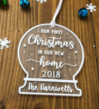 Load image into Gallery viewer, Our First Christmas In Our New Home • Personalised Snow Globe Tree Decoration Ornament