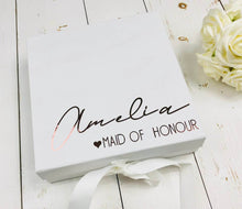 Load image into Gallery viewer, Bridesmaid Proposal Box • White Gift Box •Personalised Gift Box •Bridal Party Gift • Wedding Gift •Mother Of The Bride Gift • Thank you Gift