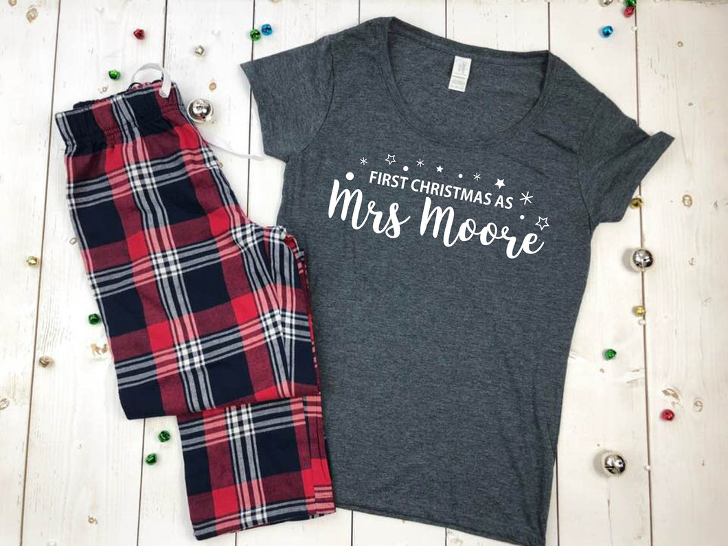 First Christmas As A Mrs Personalised Pyjamas • Christmas PJS • Wife Gift