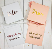 Load image into Gallery viewer, Rose Gold Will You Be My Bridesmaid Gift Box Proposal